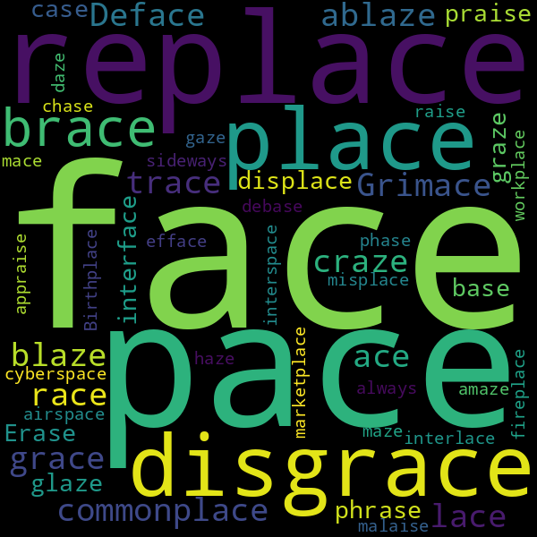 33 Words that Rhyme with « embrace »