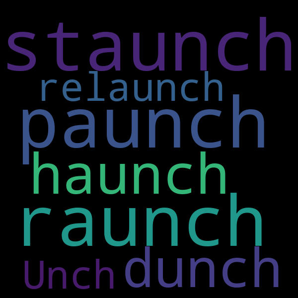 2 words that rhyme with  u00ab launch