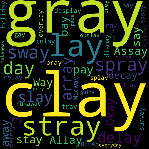 47 Words that Rhyme with « play »