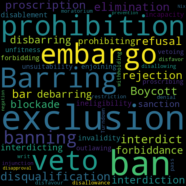 10 Synonyms for « debarment »