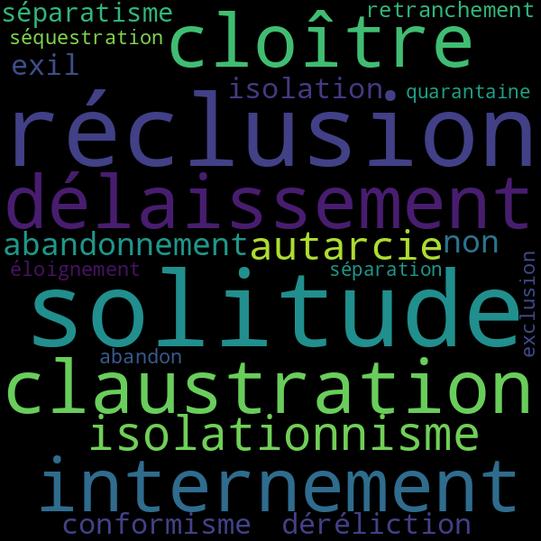 21 Synonymes Pour « Isolement